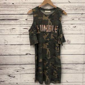 Au.ri.a. Camo camouflage Rose HUMBLE tee dress